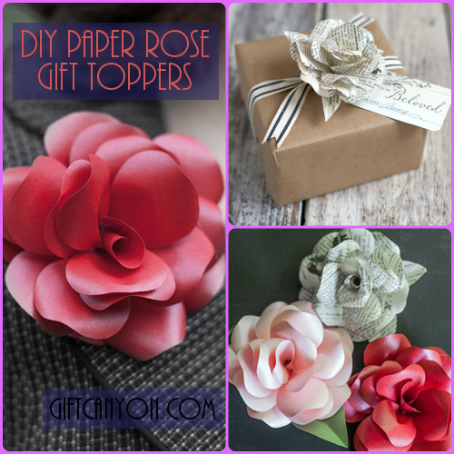 DIY Paper Rose Gift Toppers
