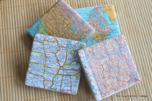 Map Coasters + 49 More DIY Gift Ideas for Christmas