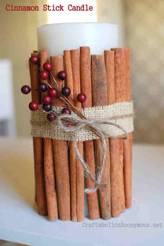 Cinnamon Stick Candles + 49 More DIY Christmas Gift Ideas