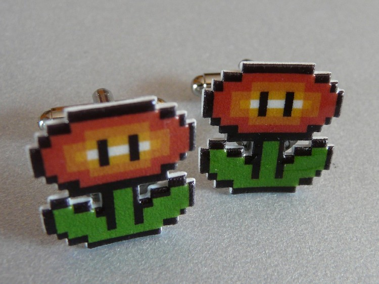Fire Flower Cuff Links + More Mario Stocking Stuffers