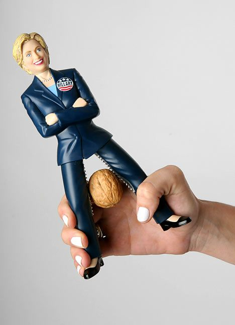 Gag gifts are a common white elephant gift. Your boss would probably use a Hillary Clinton nutcracker, right?