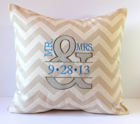 Monogram Linen PIllows For 4th Anniversary