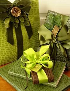 Presents wrapped in green is considered good luck!