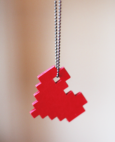 DIY-pixel-heart-necklace Valentines Day Gift