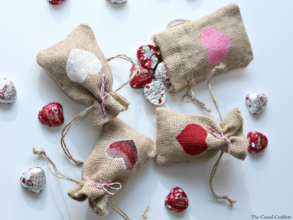 Valentines Burlap Bag