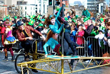 A colorful St. Patrick's Day Parade in Dublin