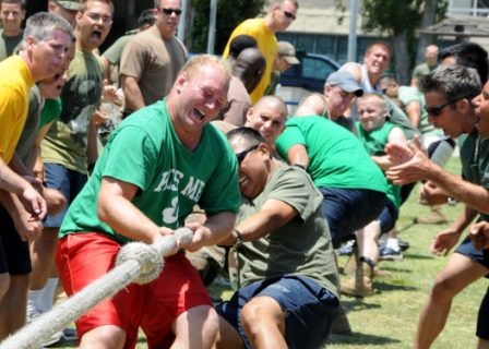 Many medium to large companies create events to celebrate Employee Appreciation Day. Games like tug-of-war are always present.