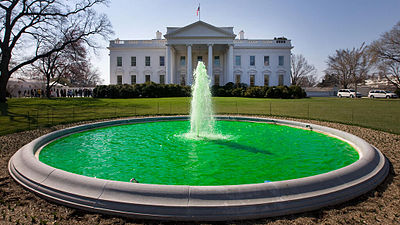 White House Fountain on St. Patrick's Day. Notice the green color.