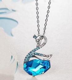 crystal swan necklace