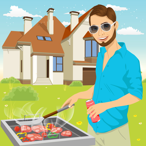 young hipster man barbecuing meat on the grill