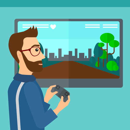 A hipster man with the beard playing video game with gamepad in hands vector flat design illustration. Square layout.