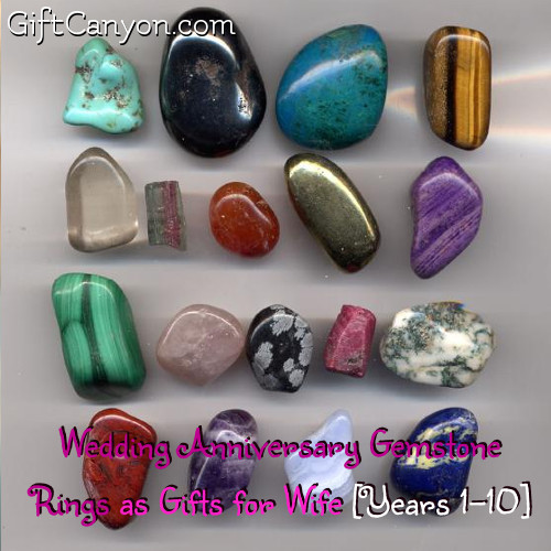 Wedding Anniversary Gemstone Rings as Gifts for Wife [Years 1-10]