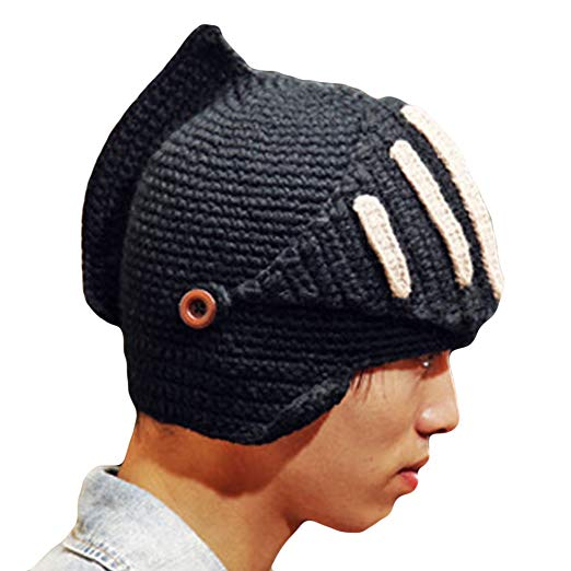 This knight crocheted hat is the ultimate geek wear!