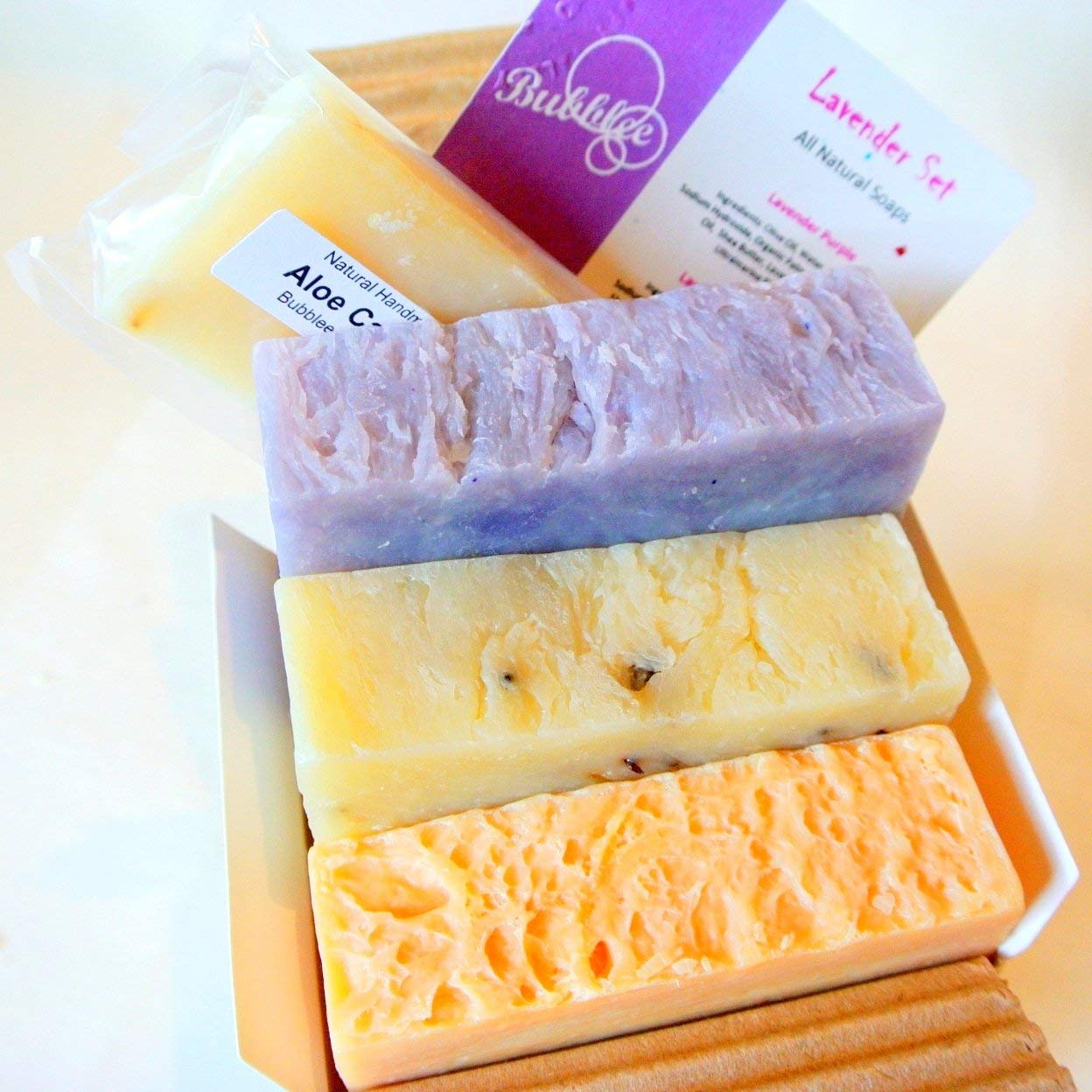 Handmade soaps smell more natural and work better than more commercialized soaps. This set contains soap other than lavender, so you can just repackage.